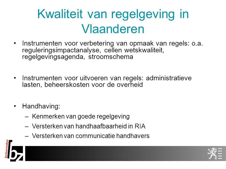 Kwaliteit van regelgeving in Vlaanderen