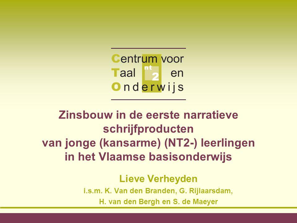 Zinsbouw in de eerste narratieve schrijfproducten van jonge (kansarme) (NT2-) leerlingen in het Vlaamse basisonderwijs