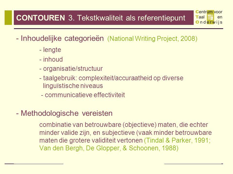 CONTOUREN 3. Tekstkwaliteit als referentiepunt
