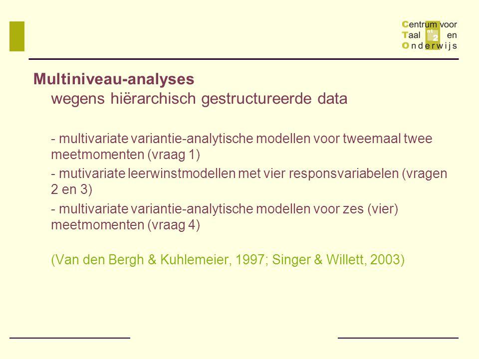 Multiniveau-analyses wegens hiërarchisch gestructureerde data
