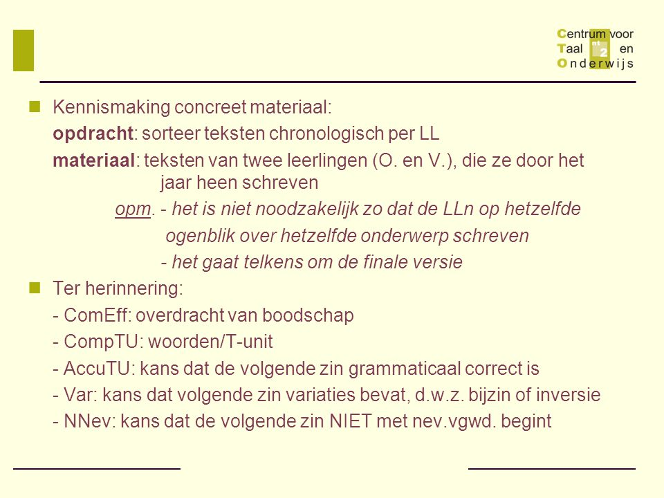 Kennismaking concreet materiaal: