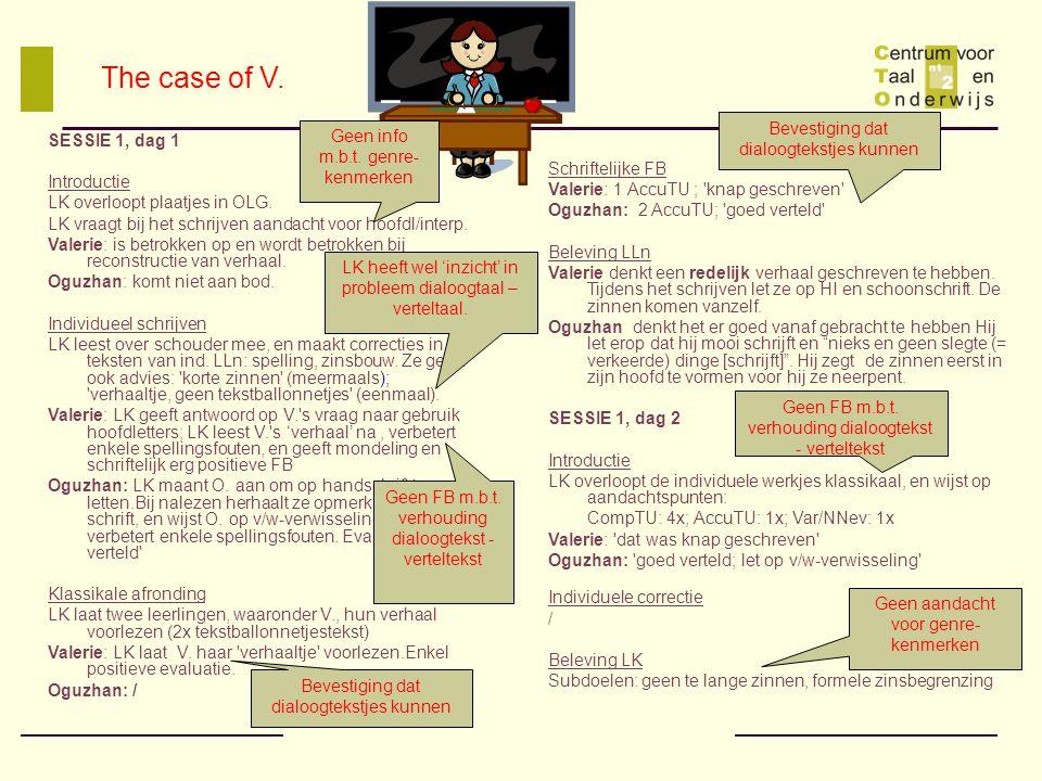 The case of V. Bevestiging dat dialoogtekstjes kunnen