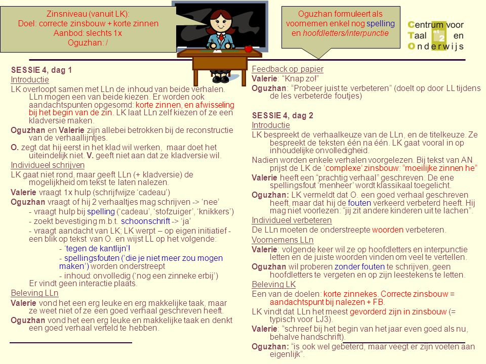 Zinsniveau (vanuit LK): Doel: correcte zinsbouw + korte zinnen
