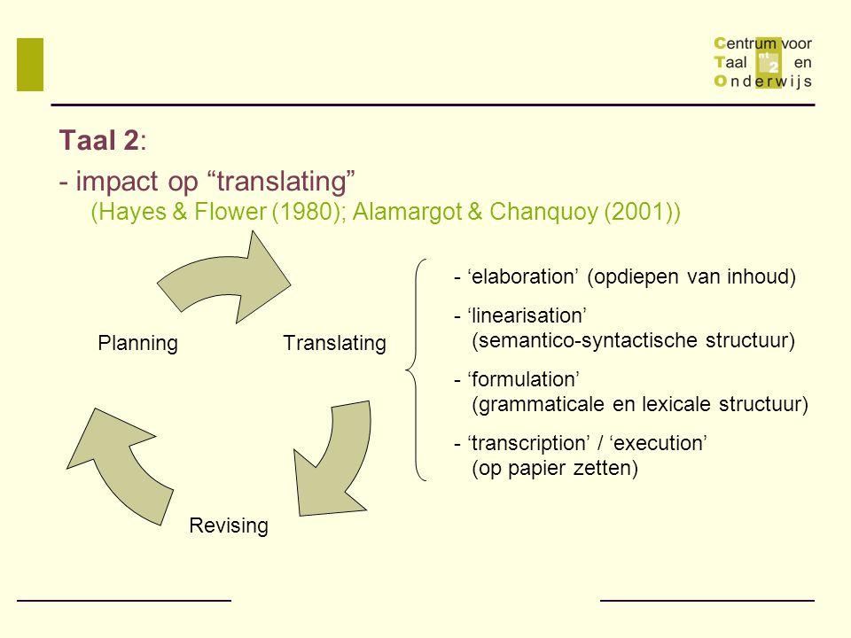 Taal 2: - impact op translating (Hayes & Flower (1980); Alamargot & Chanquoy (2001)) 'elaboration' (opdiepen van inhoud)