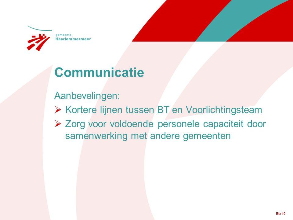 Communicatie Aanbevelingen: