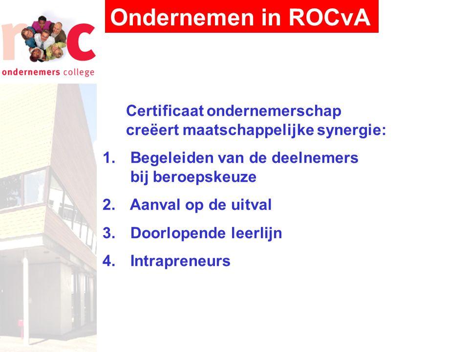 Ondernemen in ROCvA Certificaat ondernemerschap creëert maatschappelijke synergie: Begeleiden van de deelnemers bij beroepskeuze.