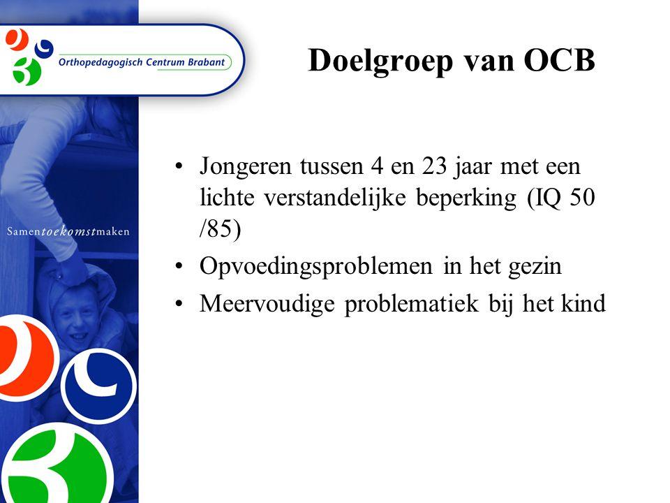 Doelgroep van OCB Jongeren tussen 4 en 23 jaar met een lichte verstandelijke beperking (IQ 50 /85) Opvoedingsproblemen in het gezin.
