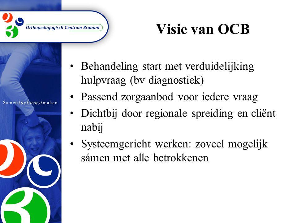 Visie van OCB Behandeling start met verduidelijking hulpvraag (bv diagnostiek) Passend zorgaanbod voor iedere vraag.
