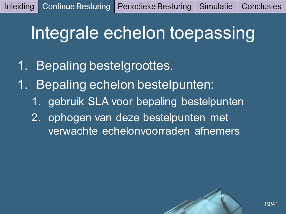 Integrale echelon toepassing