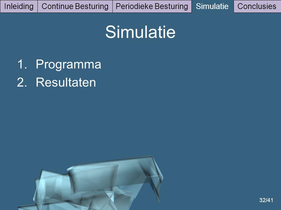 Simulatie Programma Resultaten Inleiding Continue Besturing
