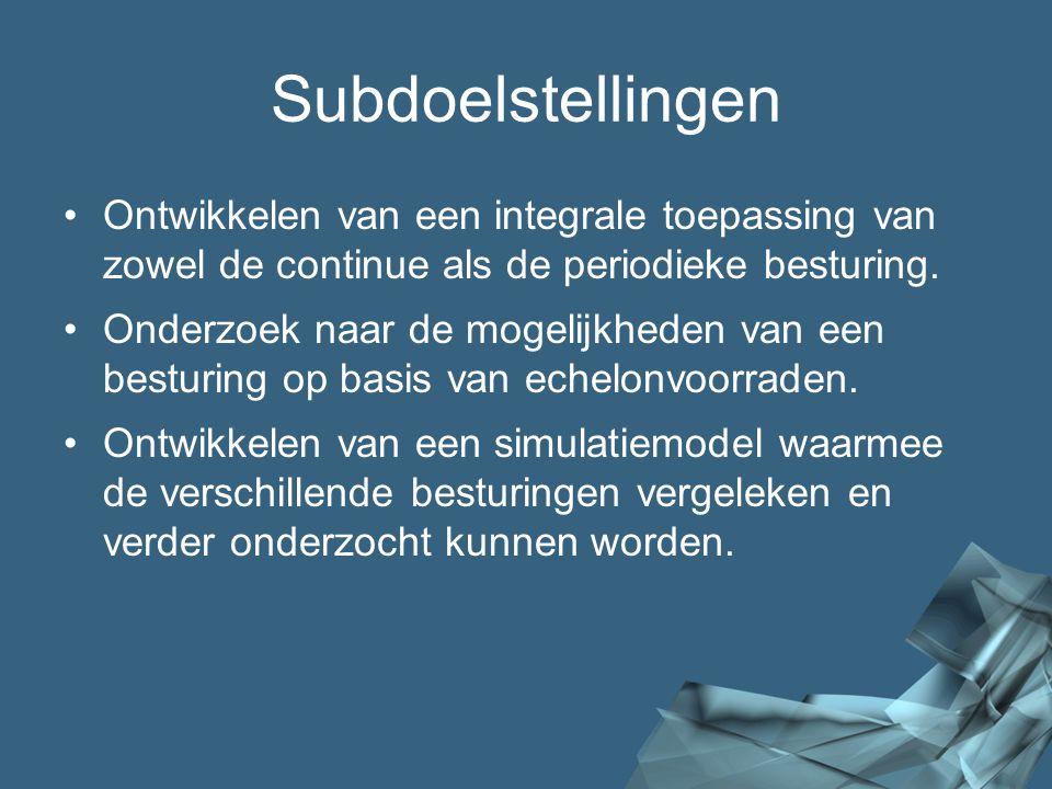 Subdoelstellingen Ontwikkelen van een integrale toepassing van zowel de continue als de periodieke besturing.