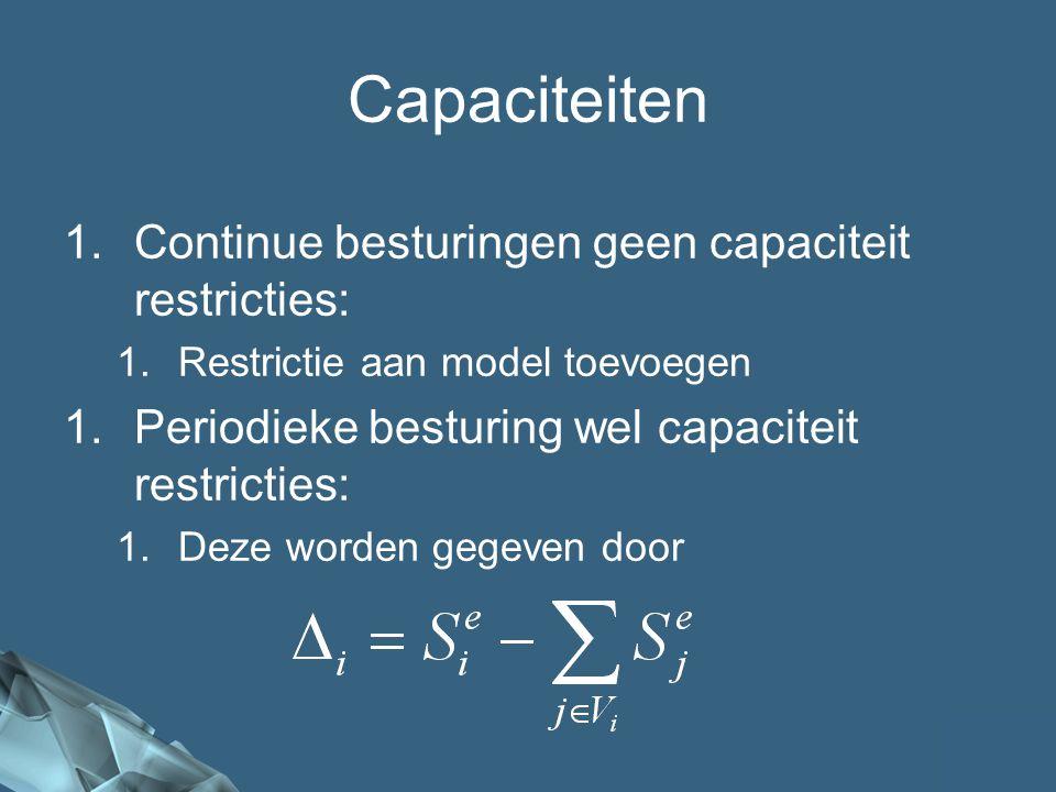 Capaciteiten Continue besturingen geen capaciteit restricties: