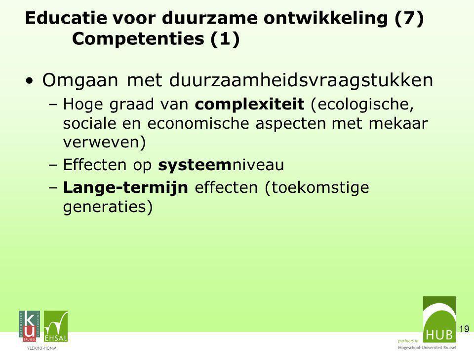 Educatie voor duurzame ontwikkeling (7) Competenties (1)