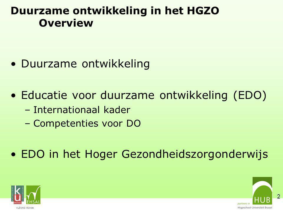 Duurzame ontwikkeling in het HGZO Overview