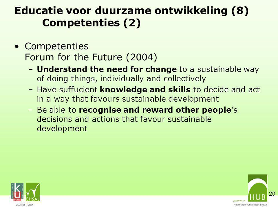 Educatie voor duurzame ontwikkeling (8) Competenties (2)