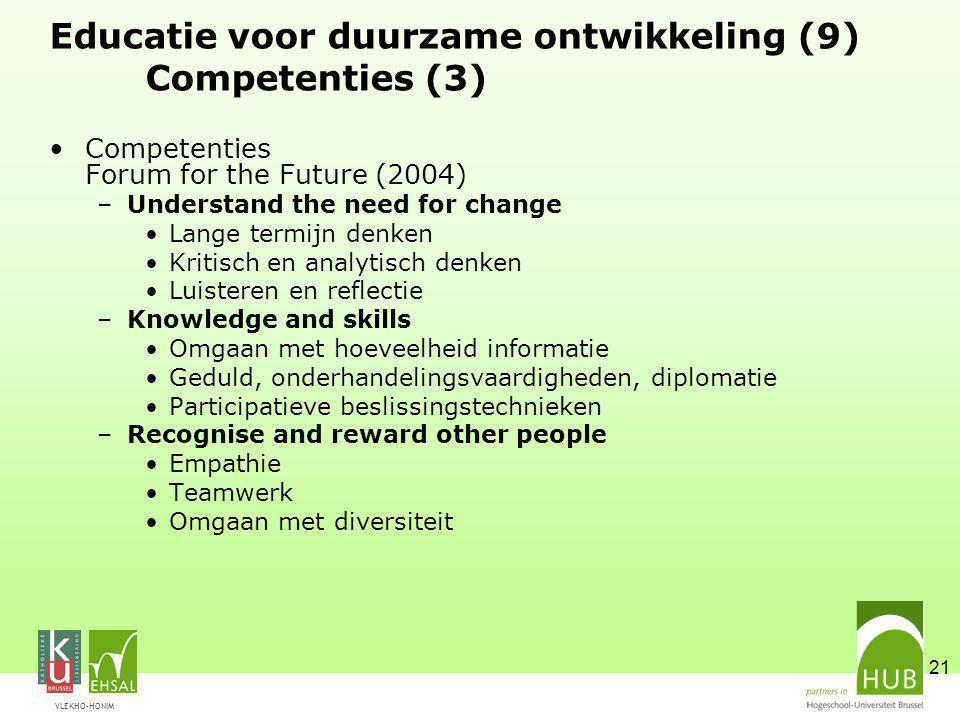Educatie voor duurzame ontwikkeling (9) Competenties (3)