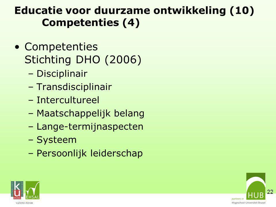 Educatie voor duurzame ontwikkeling (10) Competenties (4)