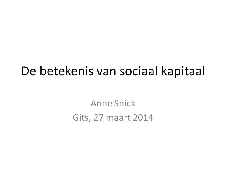 De betekenis van sociaal kapitaal