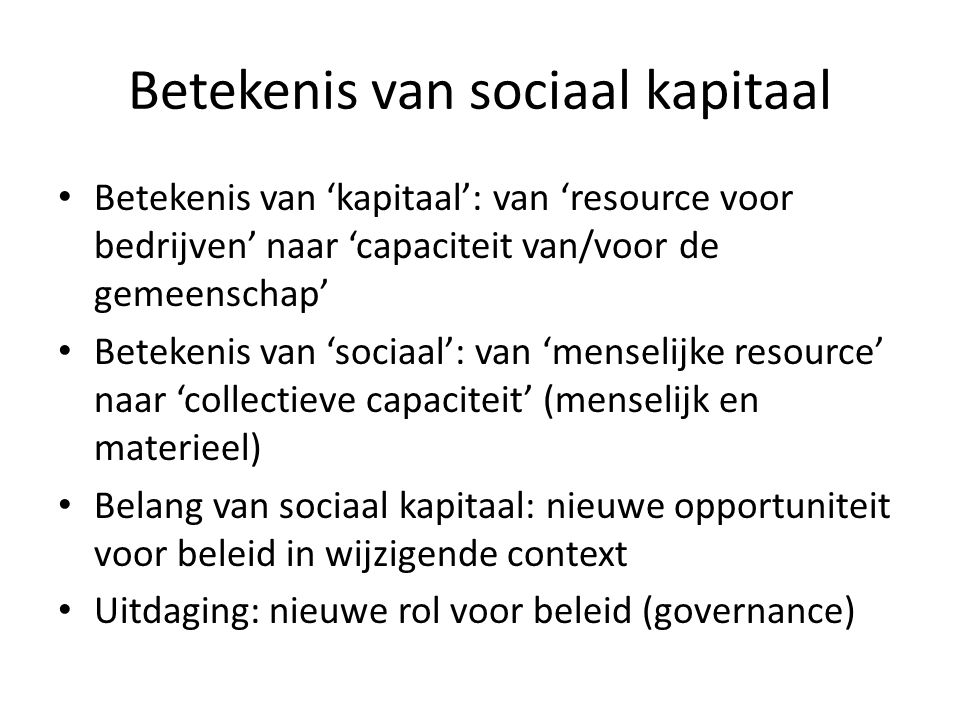 Betekenis van sociaal kapitaal