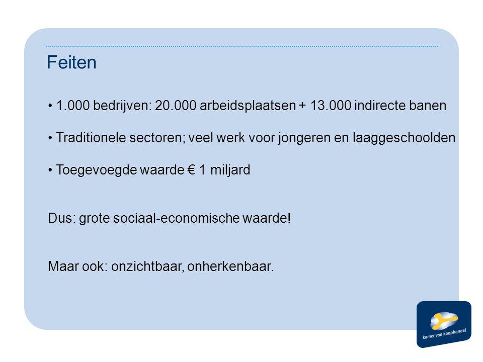 Feiten 1.000 bedrijven: 20.000 arbeidsplaatsen + 13.000 indirecte banen. Traditionele sectoren; veel werk voor jongeren en laaggeschoolden.