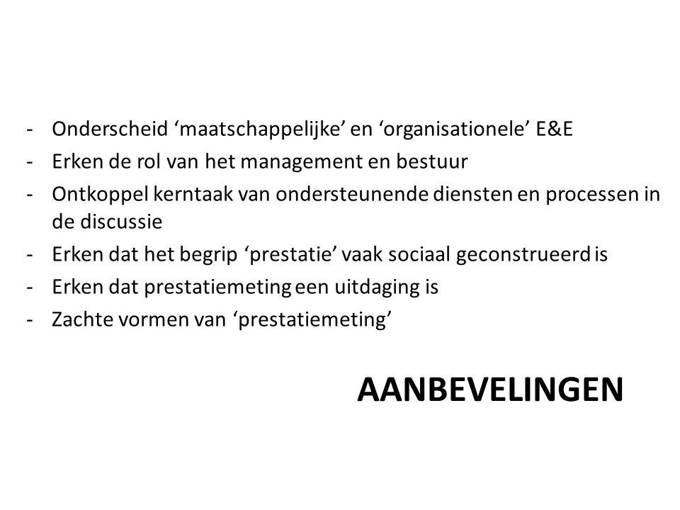 Aanbevelingen Onderscheid 'maatschappelijke' en 'organisationele' E&E