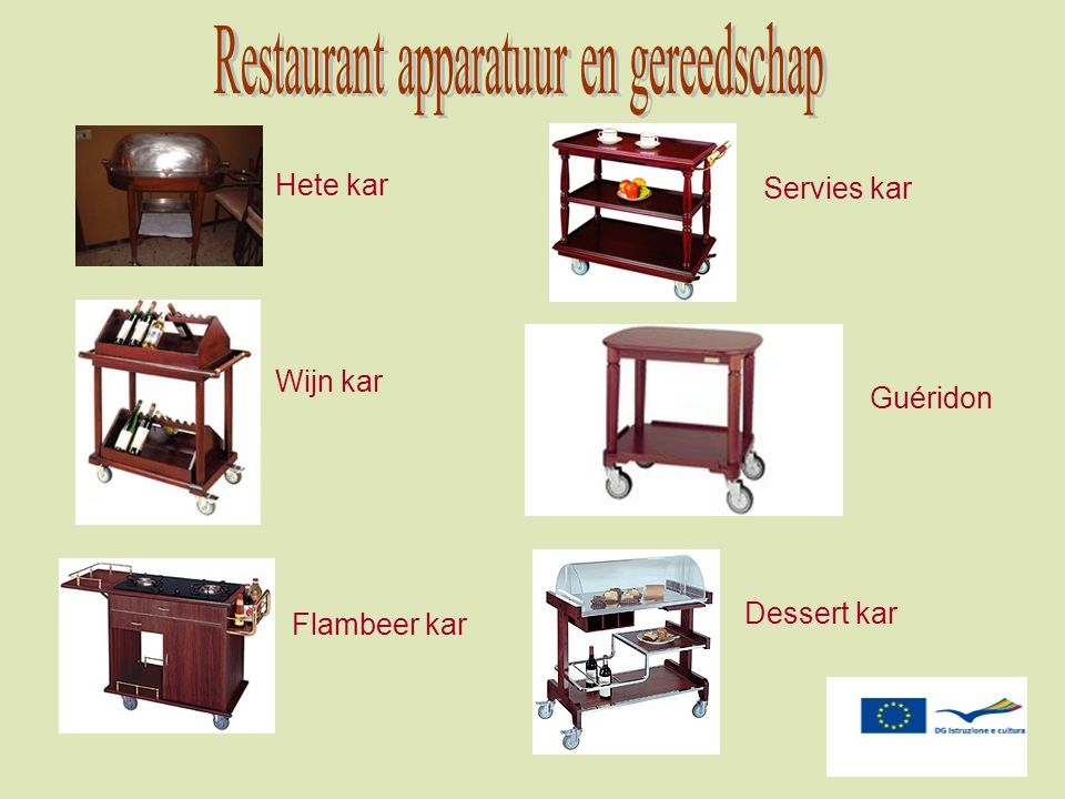 Restaurant apparatuur en gereedschap