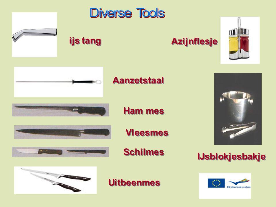 Diverse Tools ijs tang Azijnflesje Aanzetstaal Ham mes Vleesmes Schilmes IJsblokjesbakje Uitbeenmes