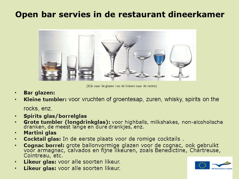 Open bar servies in de restaurant dineerkamer