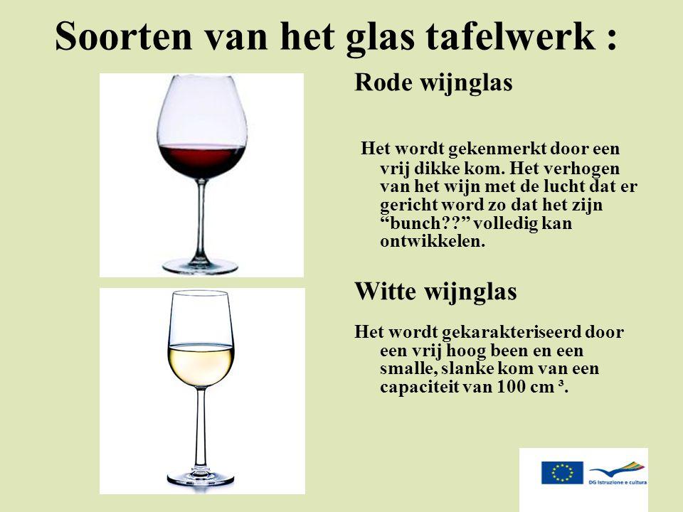 Soorten van het glas tafelwerk :
