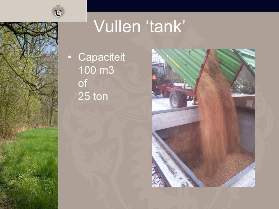 Vullen 'tank' Capaciteit 100 m3 of 25 ton