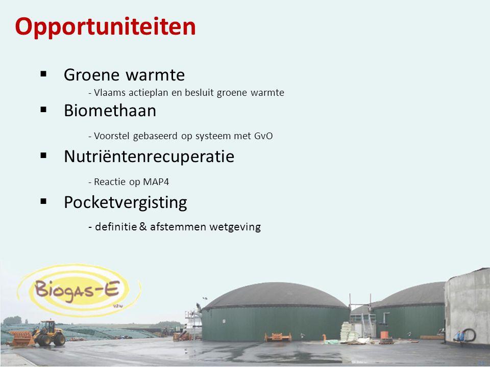 Opportuniteiten Groene warmte - Vlaams actieplan en besluit groene warmte. Biomethaan - Voorstel gebaseerd op systeem met GvO.