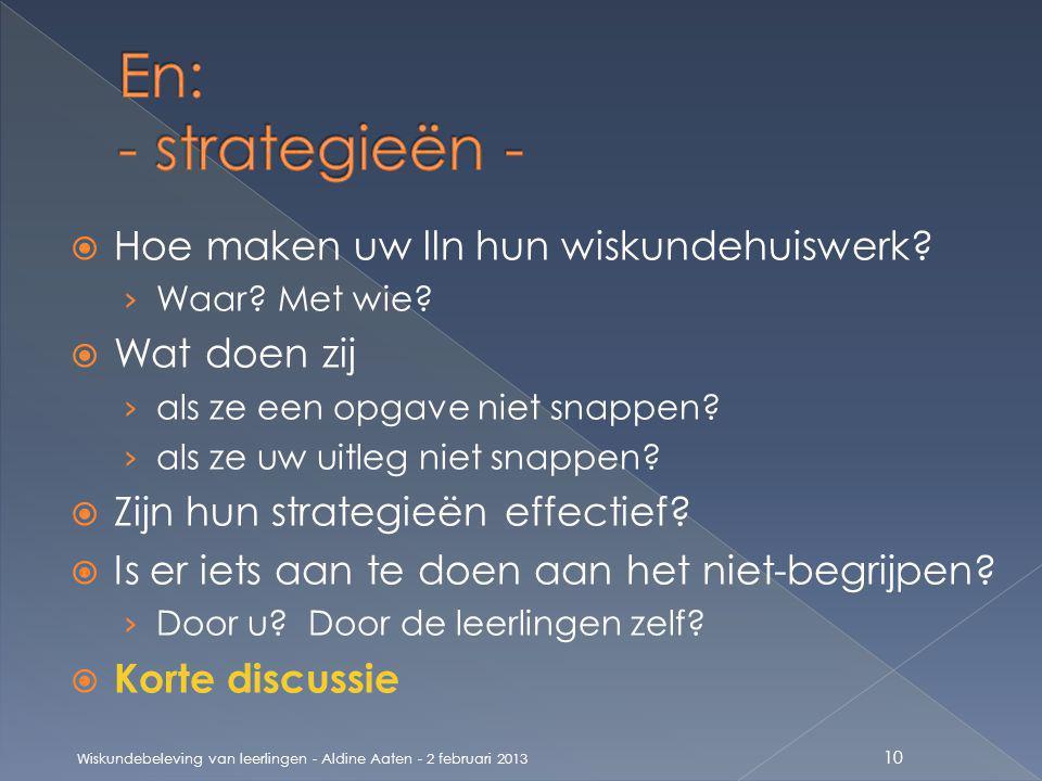 En: - strategieën - Hoe maken uw lln hun wiskundehuiswerk