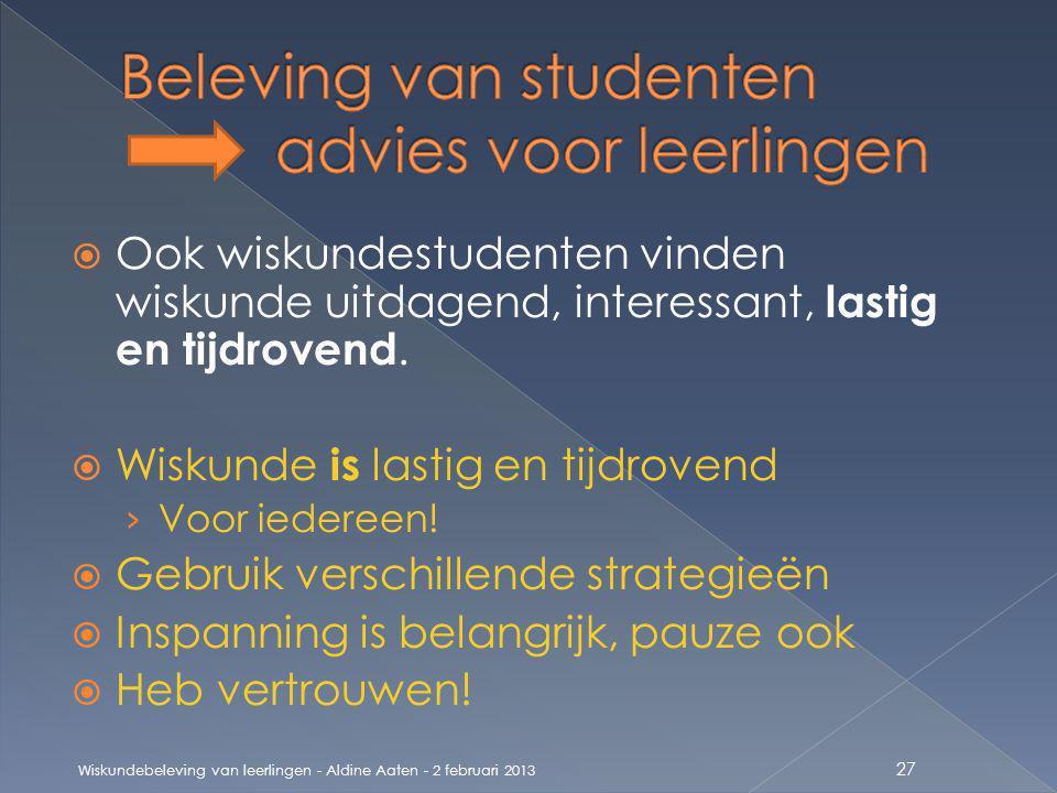 Beleving van studenten advies voor leerlingen