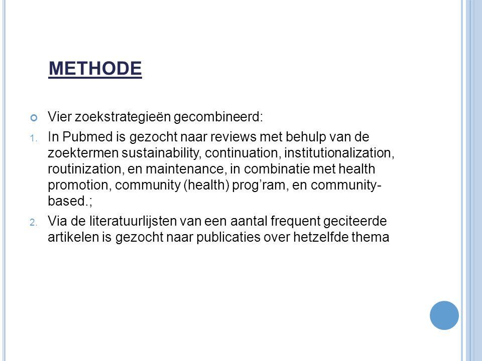 METHODE Vier zoekstrategieën gecombineerd:
