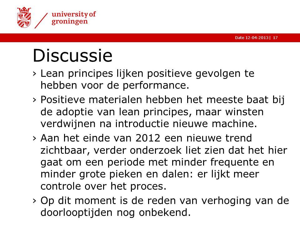 Discussie Lean principes lijken positieve gevolgen te hebben voor de performance.
