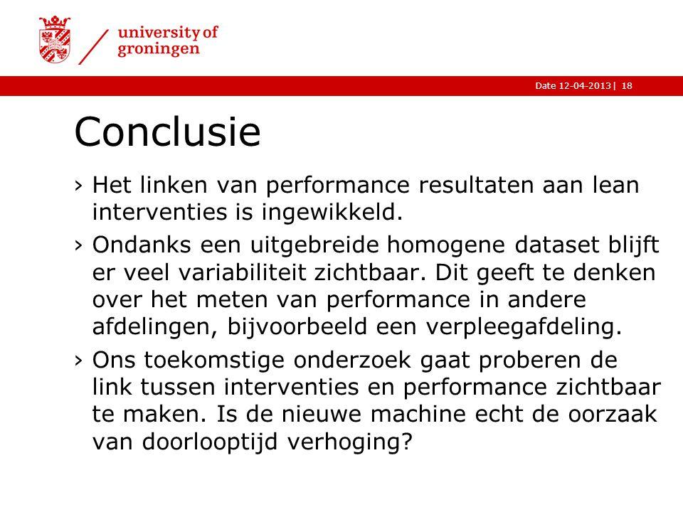 Conclusie Het linken van performance resultaten aan lean interventies is ingewikkeld.