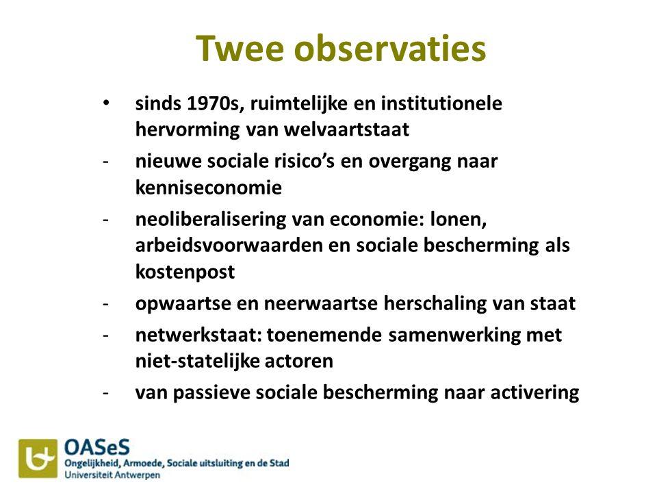Twee observaties sinds 1970s, ruimtelijke en institutionele hervorming van welvaartstaat. nieuwe sociale risico's en overgang naar kenniseconomie.