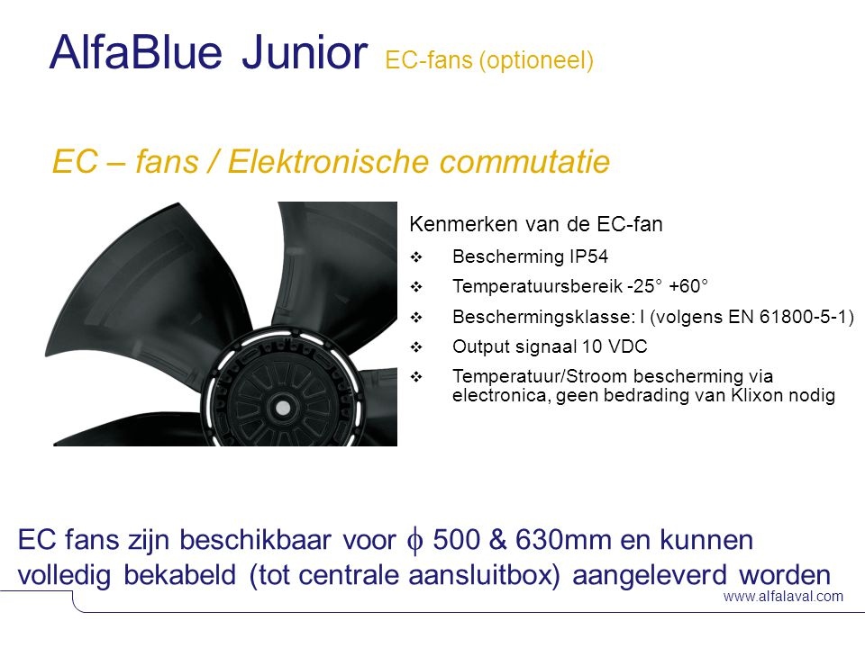AlfaBlue Junior EC-fans (optioneel)