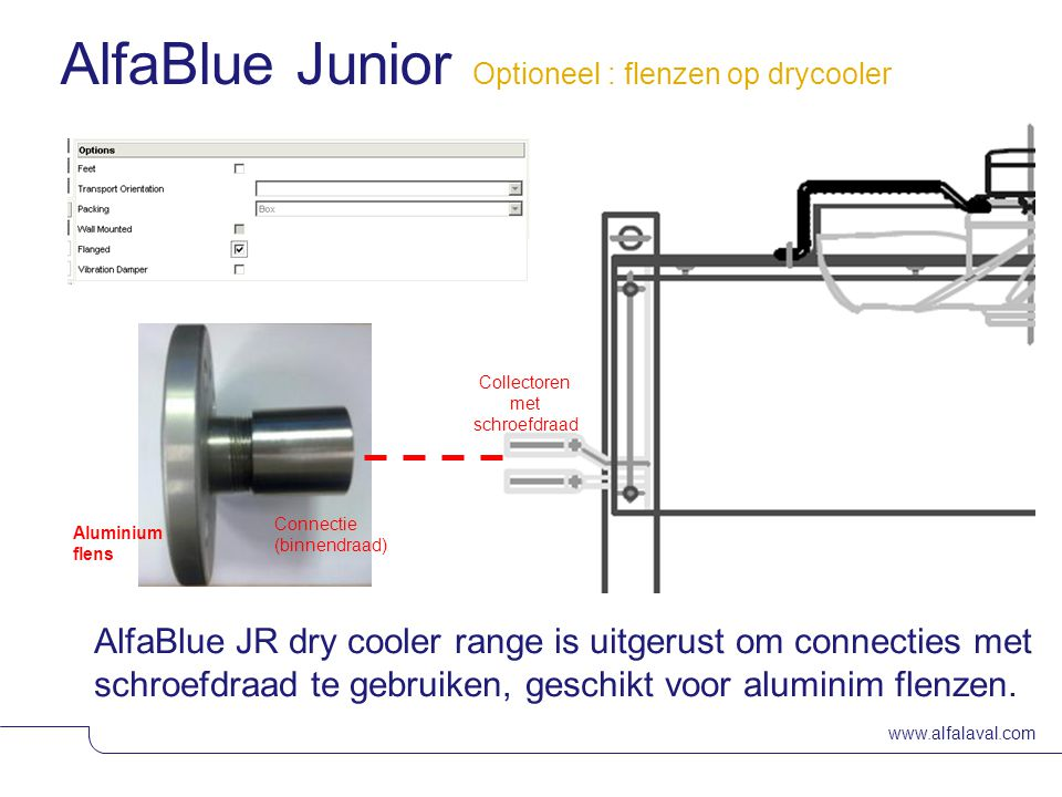 AlfaBlue Junior Optioneel : flenzen op drycooler