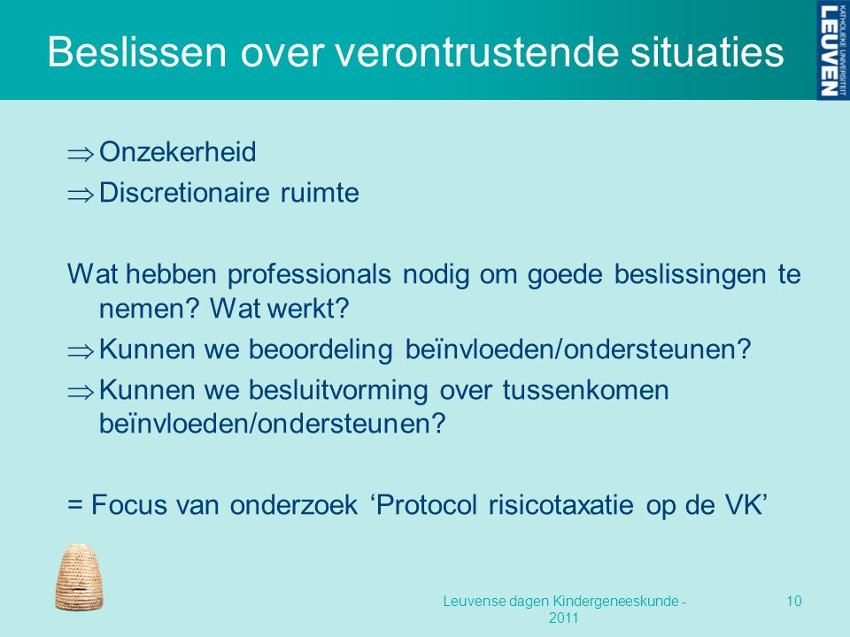 Beslissen over verontrustende situaties