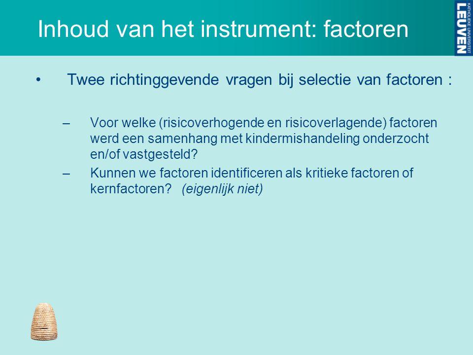 Inhoud van het instrument: factoren