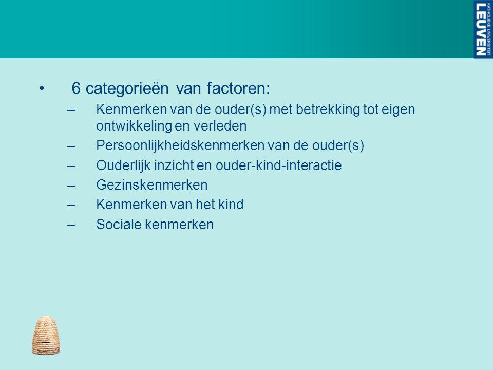 6 categorieën van factoren: