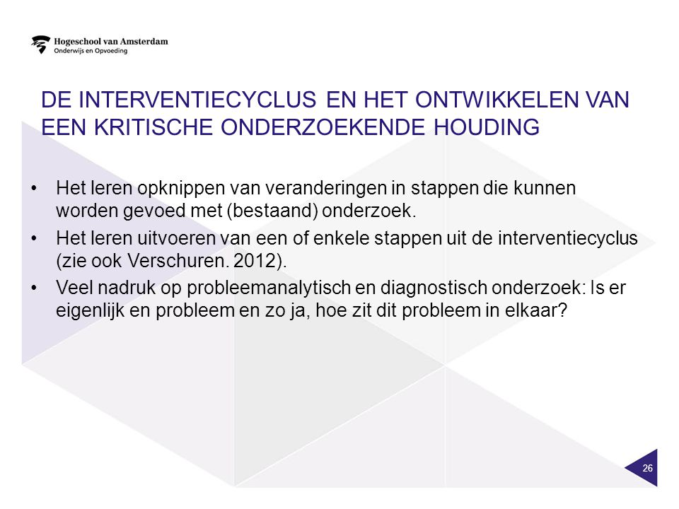 De interventiecyclus en het ontwikkelen van een kritische onderzoekende houding