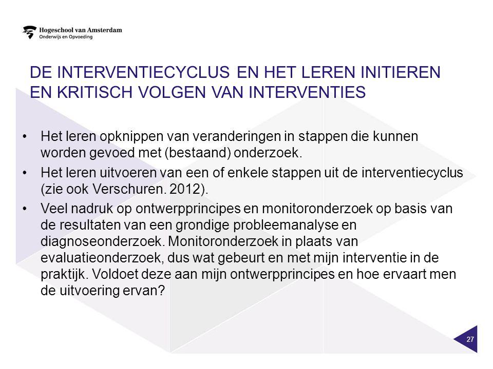 De interventiecyclus en het leren initieren en kritisch volgen van interventies