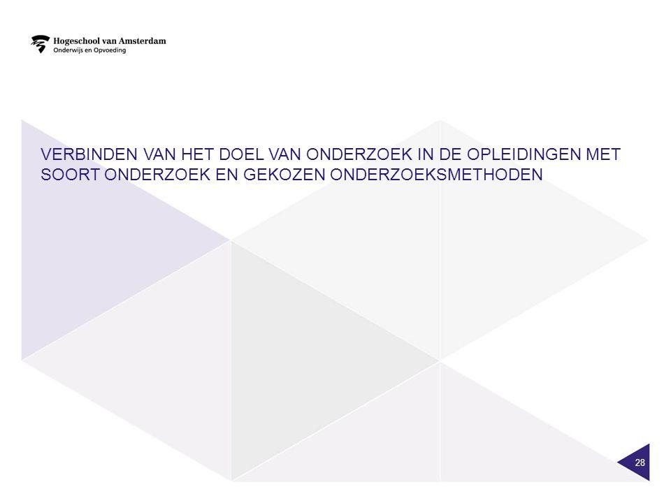 Verbinden van het doel van onderzoek in de opleidingen met soort onderzoek en gekozen onderzoeksmethoden