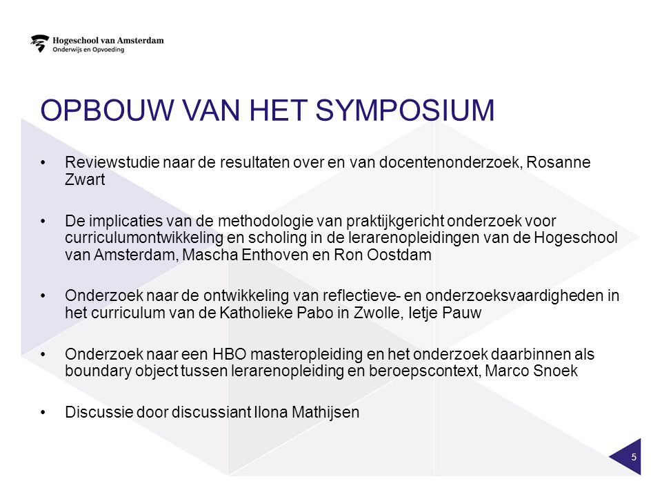 Opbouw van het symposium