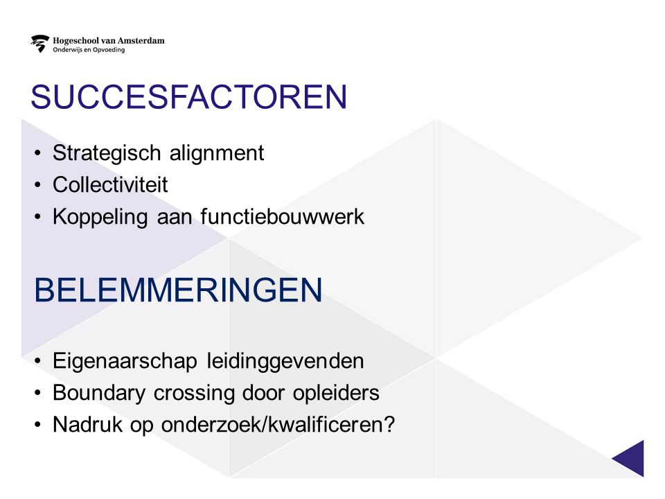 Succesfactoren BELEMMERINGEN Strategisch alignment Collectiviteit