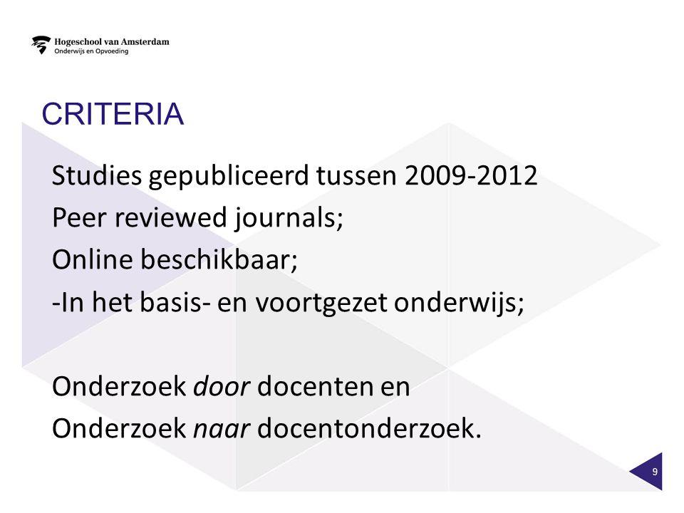 CRITERIA Studies gepubliceerd tussen 2009-2012. Peer reviewed journals; Online beschikbaar; In het basis- en voortgezet onderwijs;