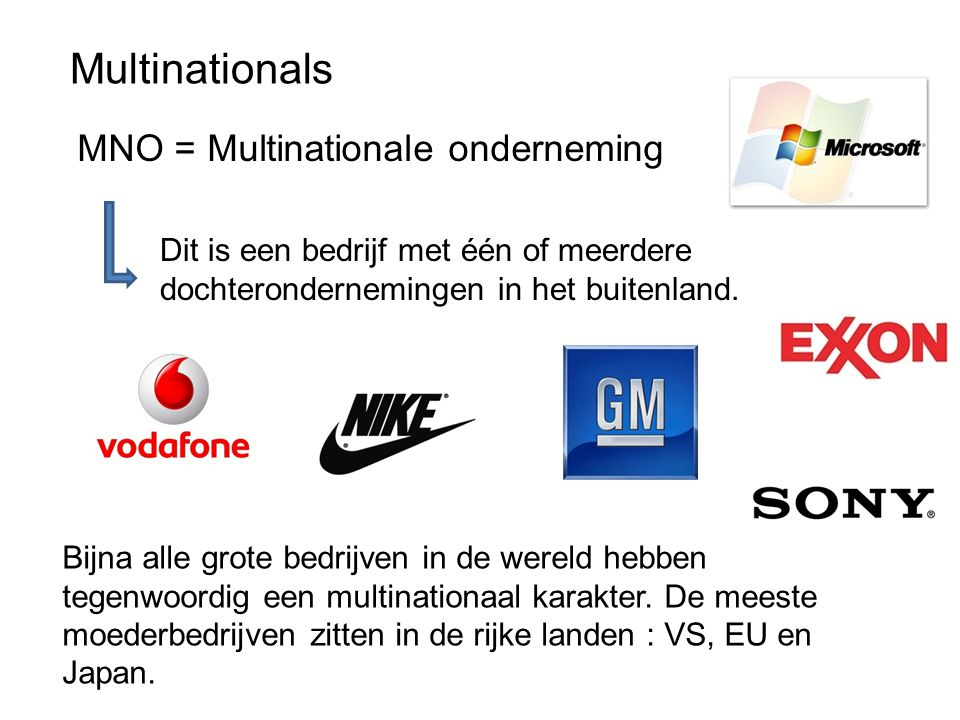 Multinationals MNO = Multinationale onderneming