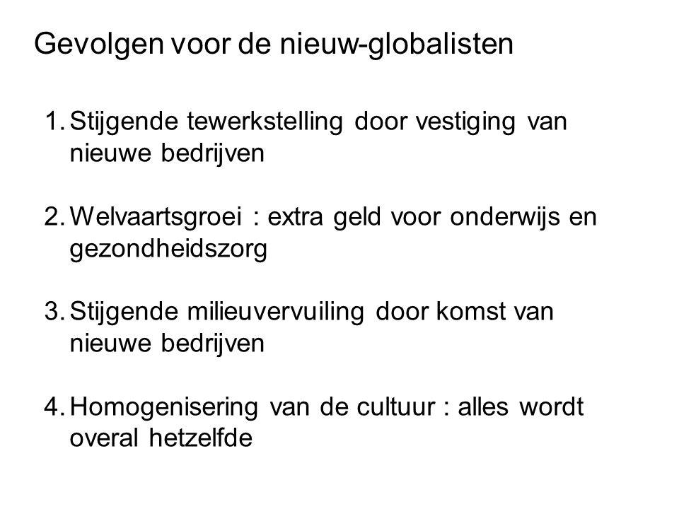 Gevolgen voor de nieuw-globalisten